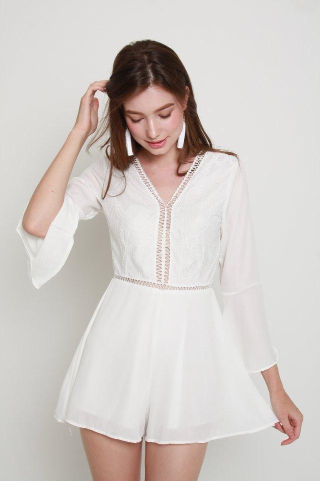 Evangeline Romper In White (S size)