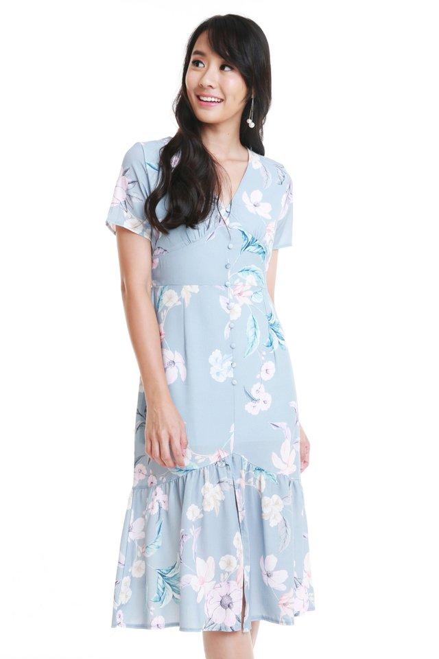 Niara Floral Dress In Sky Blue (Size M - Last piece!)