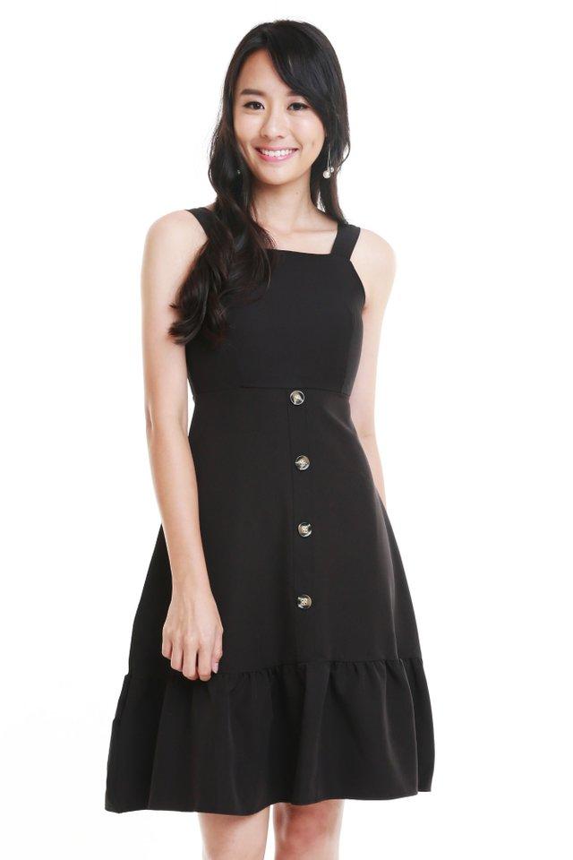 Bella Button Dress In Black