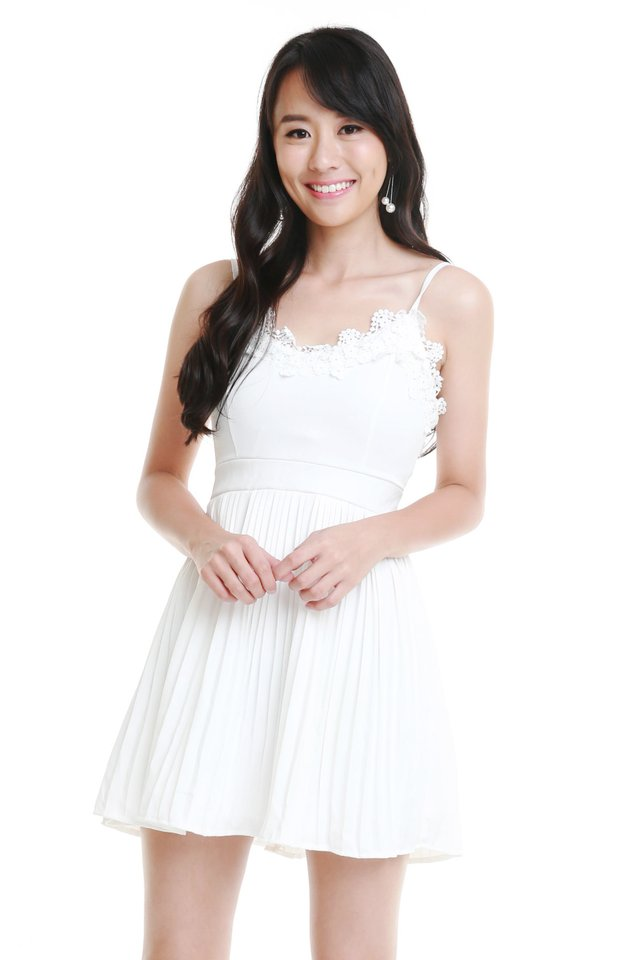 Valentina Pleated Dress In White (Size M - Last piece!)