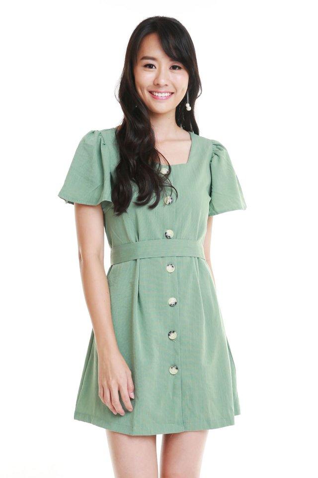 Qristy Button Down Dress In Sage