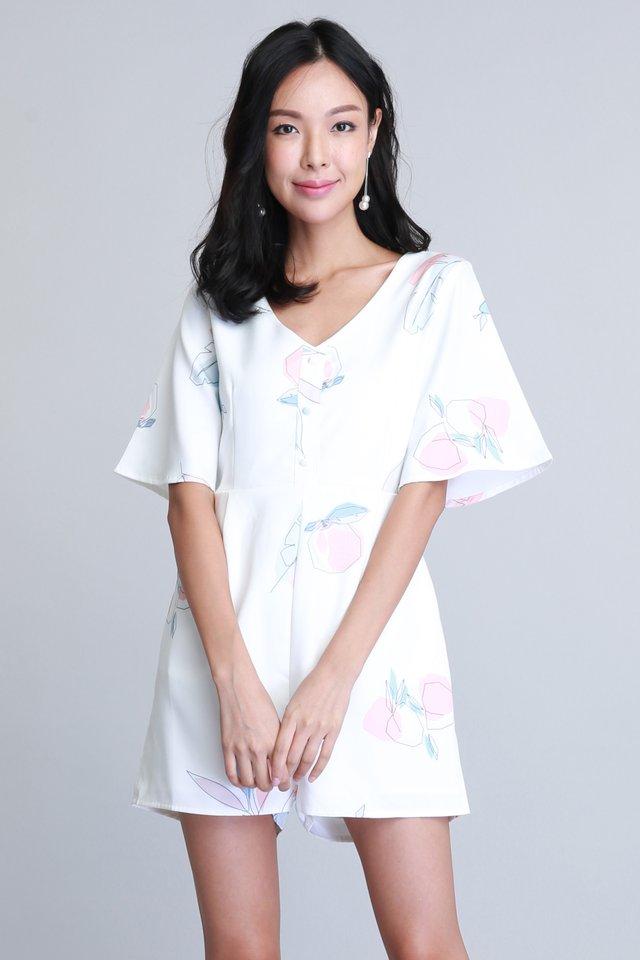 Yuki Kimono Romper in White