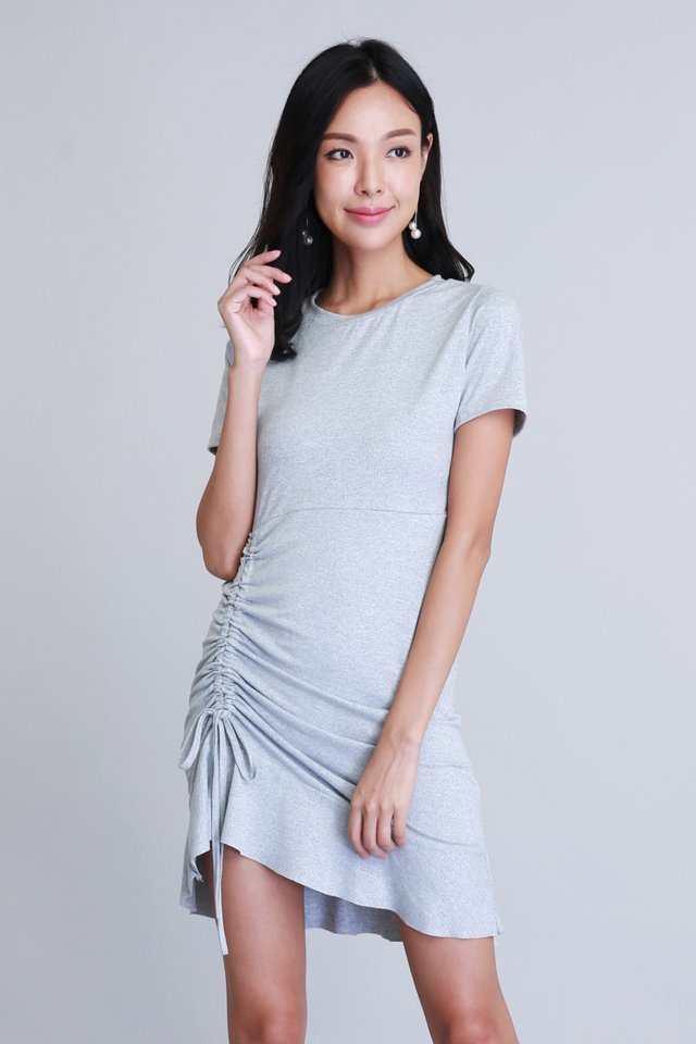 Phoebe Ruched Dress in Grey (Size L - Last piece!)