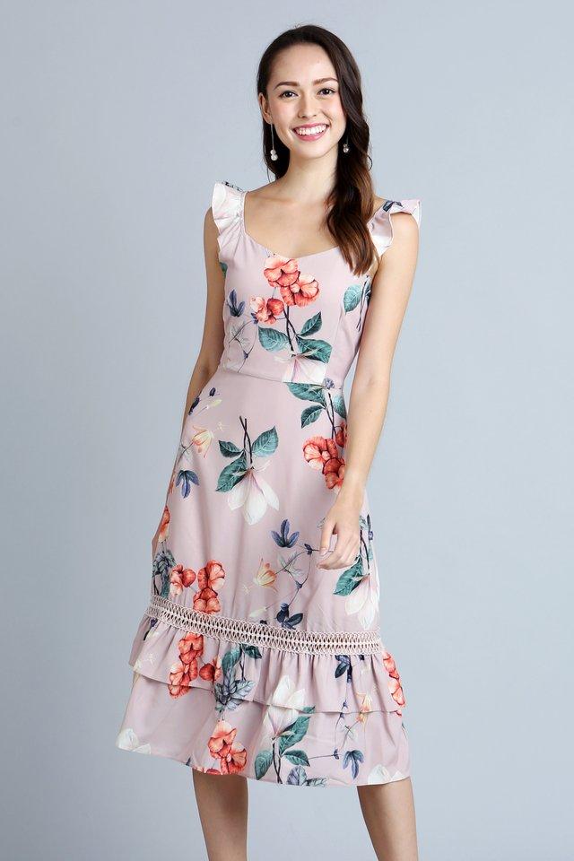 Pearlyn Floral Crochet Dress in Tea Rose