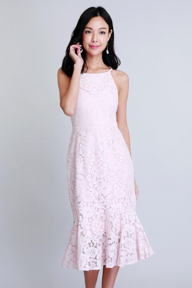Merriment Lace Dress In Pink (Size L - Last piece!)