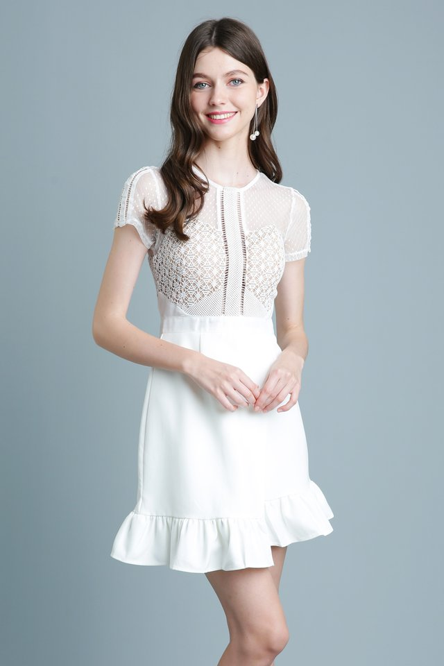 Belle Lace Dress in White